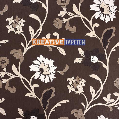 Tapete blumen braun 3 00 m beige vliestapete floral for Tapeten im angebot