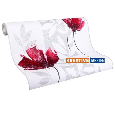 tapete blumen aquarell 2 82 m vliestapete in rot oder lila mit glitzereffekt ebay. Black Bedroom Furniture Sets. Home Design Ideas
