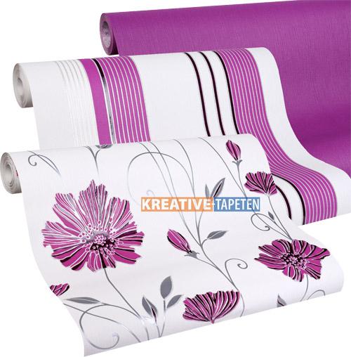 Tapete blumen lila 2 25 m streifen rosa vliestapete for Tapeten in lila